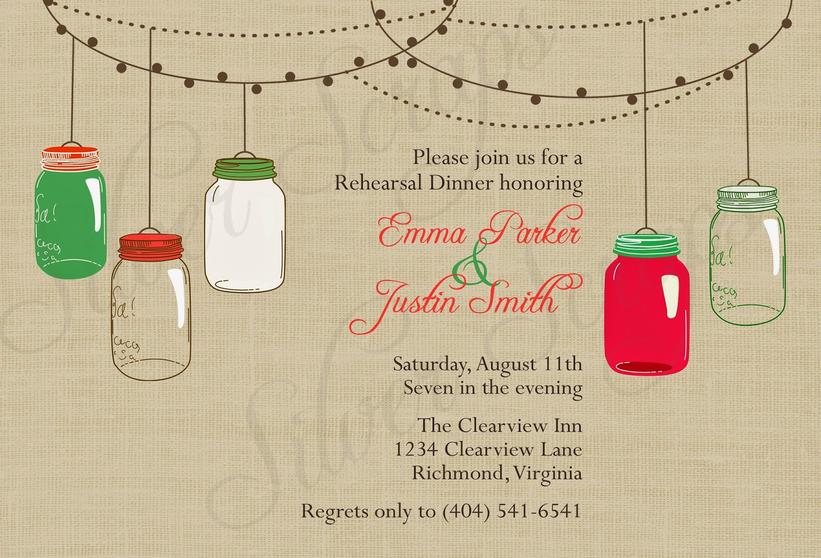 Vintage Hanging Christmas Mason Jars - Custom Holiday Rehearsal Dinner, Wedding, Bridal, Baby Shower, or Engagement Party Invitation - Green red linen burlap rustic barn hanging string lights