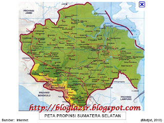 Gambar Peta Provinsi Sumatera Selatan (Palembang)