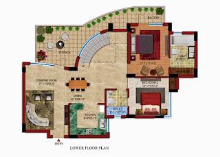 Czar Suites :: Floor Plans:-Darius 8 - Lower Floor Plan (Without Servant) Area - 2915 sq. ft. Terrace Area - 480 sq. ft.