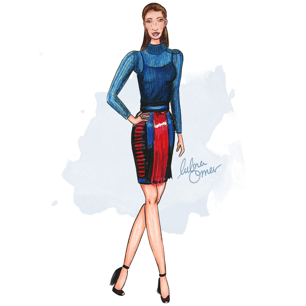 Blake Lively in Balmain illustration by Lubna Omar