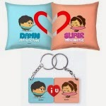 Amazon: Buy Perfect Valentines Gift for Him Set of Cushion Pair and Couple Keychain Gifts at Rs.99