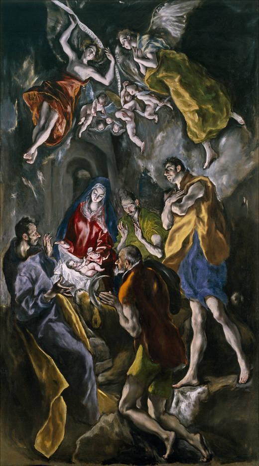 Domenikos Theotokopoulos (El Greco) (1541-1614): Hyrdenes tilbedelse (ca 1612-14), Museo del Prado i Madrid