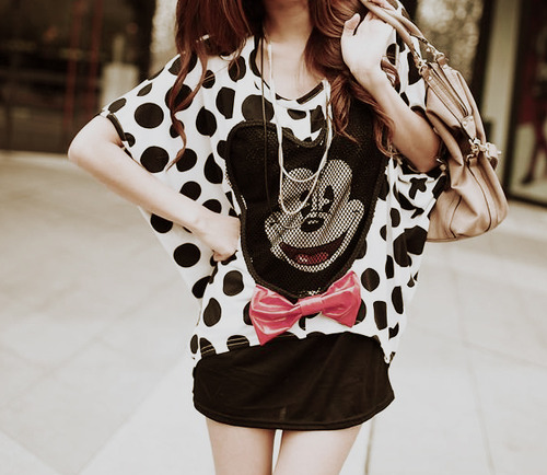 Girl With mickey-mouse Shirt
