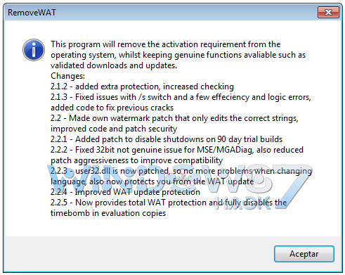 Remove WAT v2.2.6 - Windows 7 Activation
