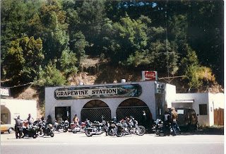 Harleys at the old Grapewine Station on Hwy 101 in the Redwoods