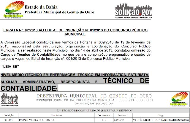 DENÚNCIA - INDÍCIO DE IRREGULARIDADES NO CONCURSO PÚBLICO DA PREFEITURA DE GENTIO DO OURO: