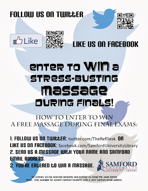 Follow us on Twitter or like us on Facebook and message us to enter to win a massage!