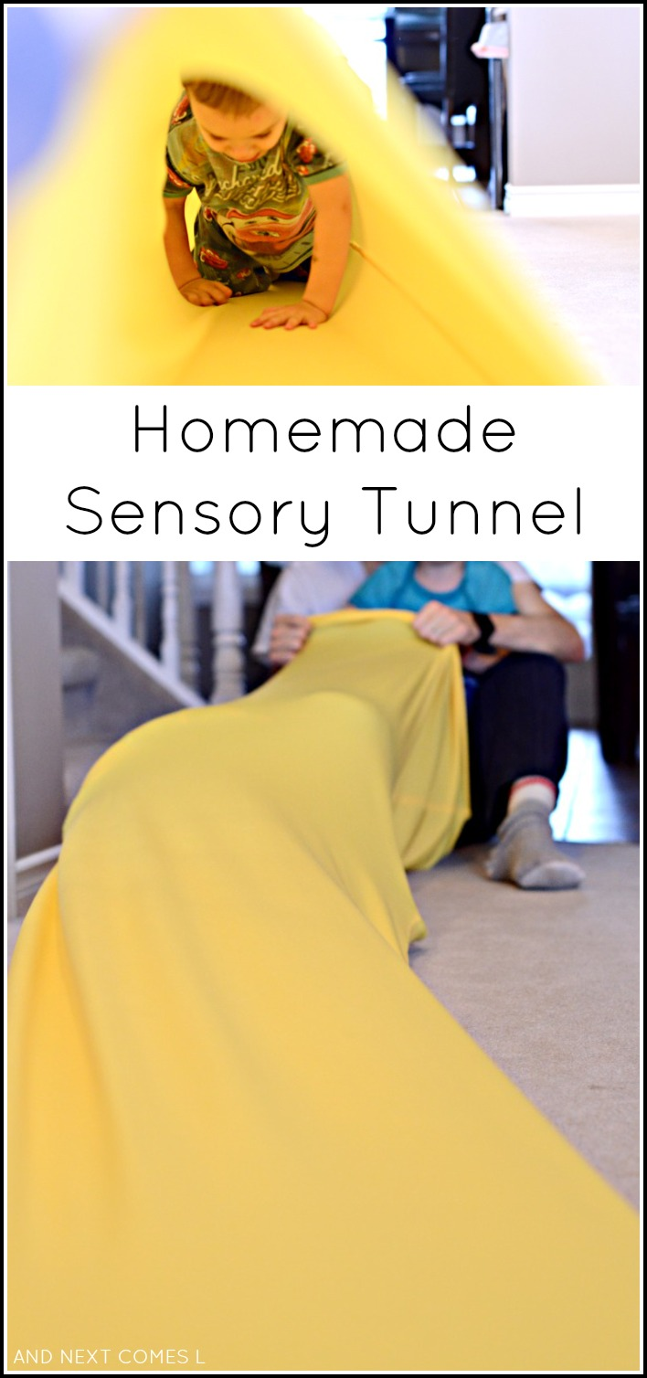 Tutorial for making a homemade sensory tunnel - a perfect tool for kids with autism and sensory processing disorder from And Next Comes L