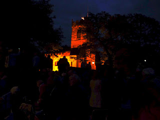 Egglescliffe Beacon on tower of floodlit church