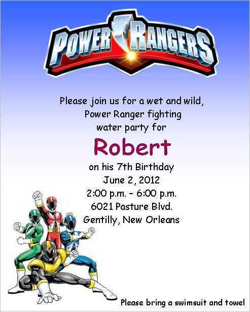 SolutionsEvent Design by Kelly Power Ranger Birthday Invitations – Power Rangers Birthday Invitations