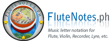 Music Letter Notation with Lyrics for Flute, Violin, Recorder, etc. | FluteNotes.ph