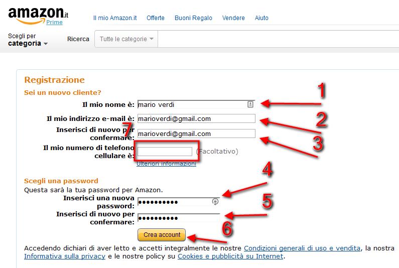 Amazon: inserimento anagrafica