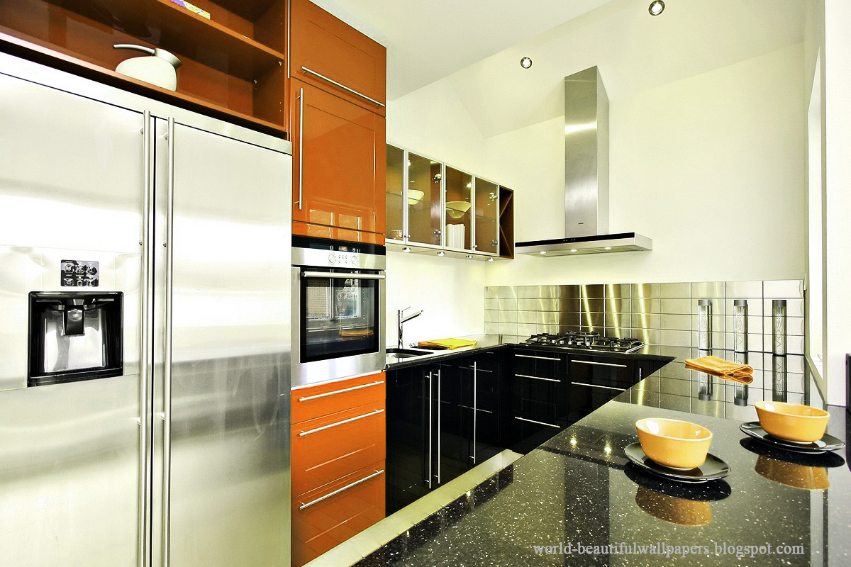 Beautiful wallpapers kitchen interior wallpaper for Kitchen 3d wallpaper