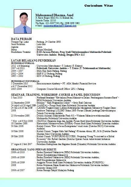 Contoh Curriculum Vitae (CV) Yang Menarik - Karirplus.web.id