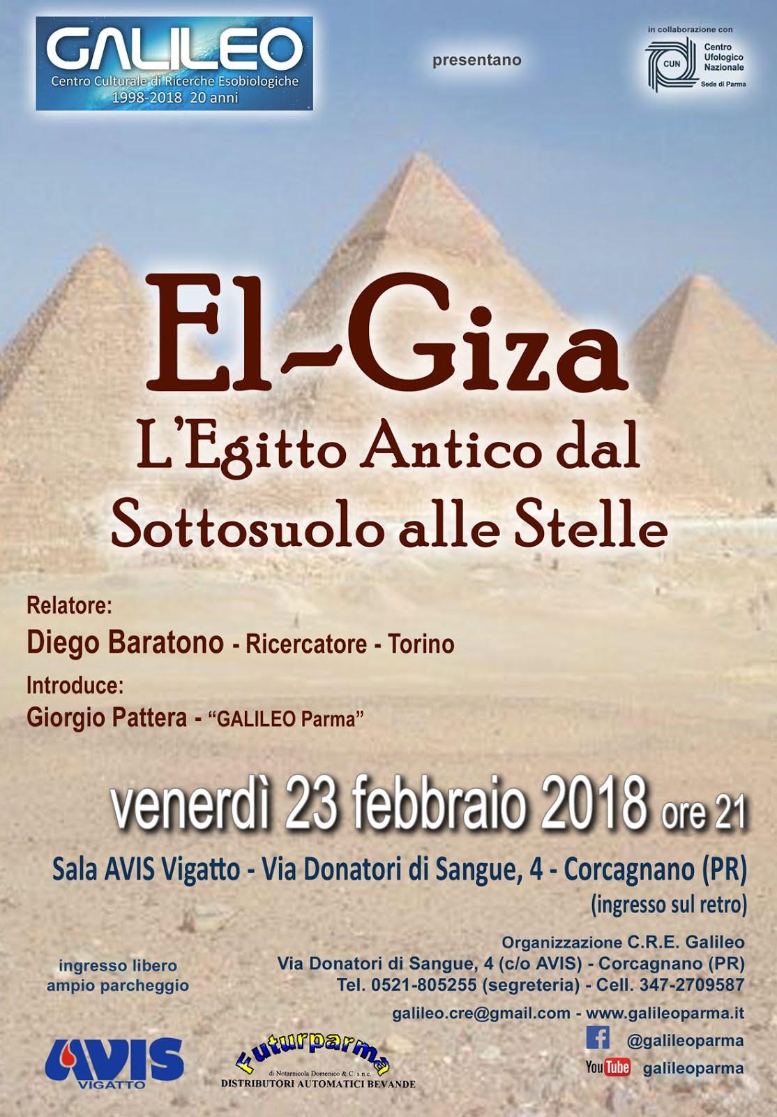 23 FEBBRAIO 2018 - EL - GIZA: L'ANTICO EGITTO DAL SOTTOSUOLO ALLE STELLE
