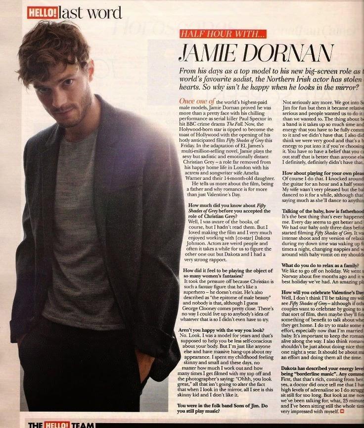 Jamie Dornan Life: New Interview of Jamie with Hello Magazine