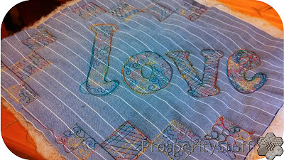 ProsperityStuff Free-Motion Quilting letters and checkerboard blocks