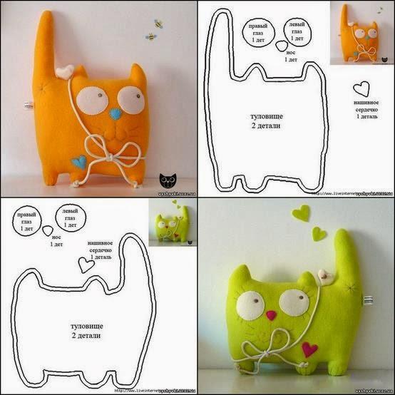 lindo gatito de tela con moldes | facilisimo.com
