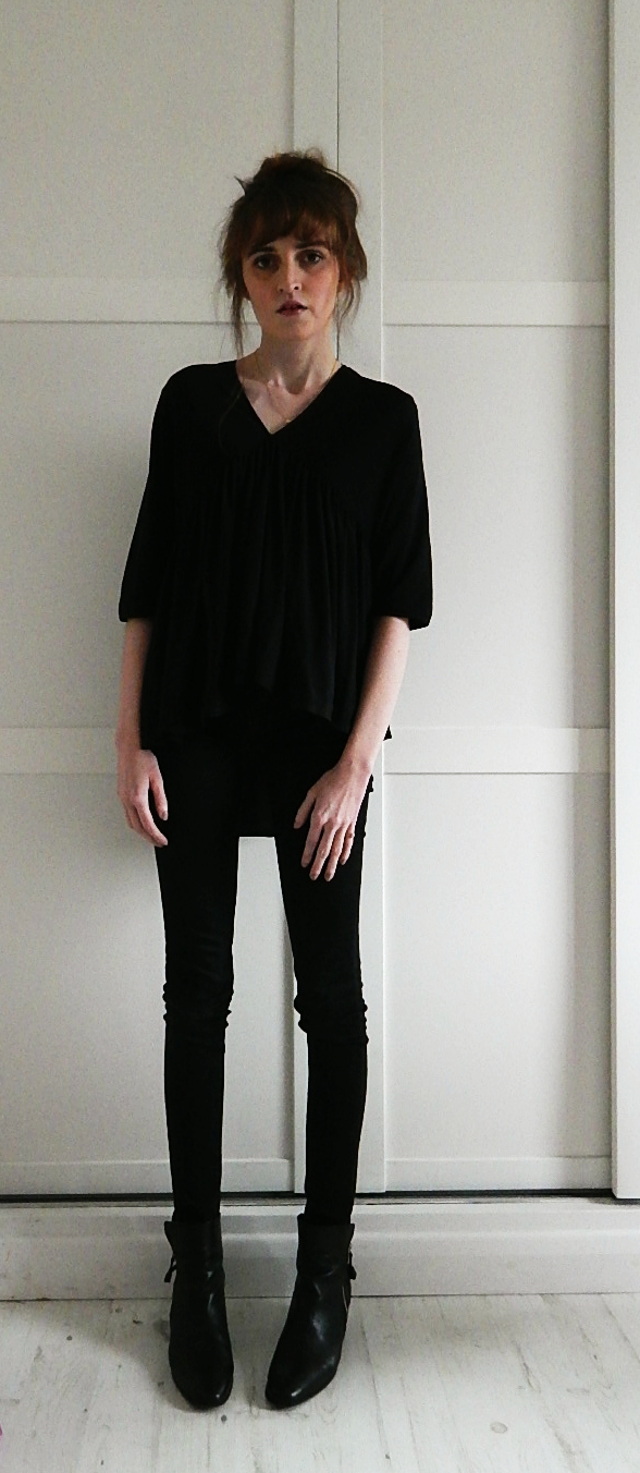 Zara Smock Top, all black outfit