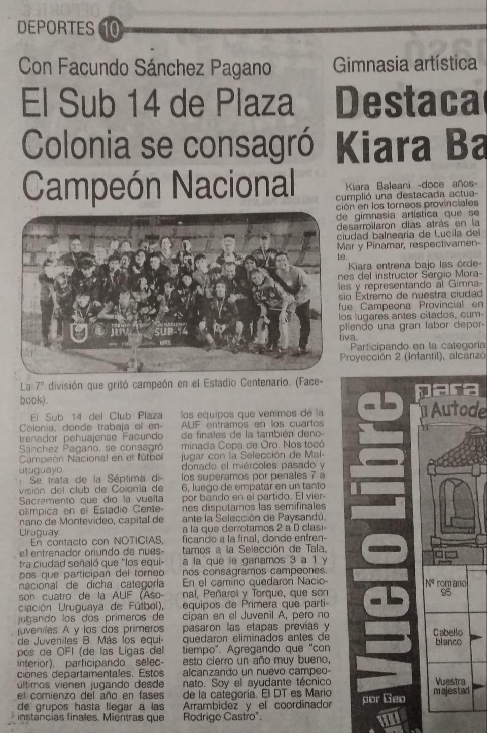 Campeones Nacionales 2019- Plaza Colonia