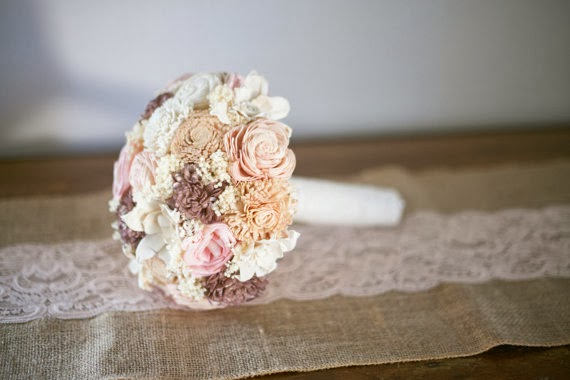handmade wedding bouquet blush pink peach