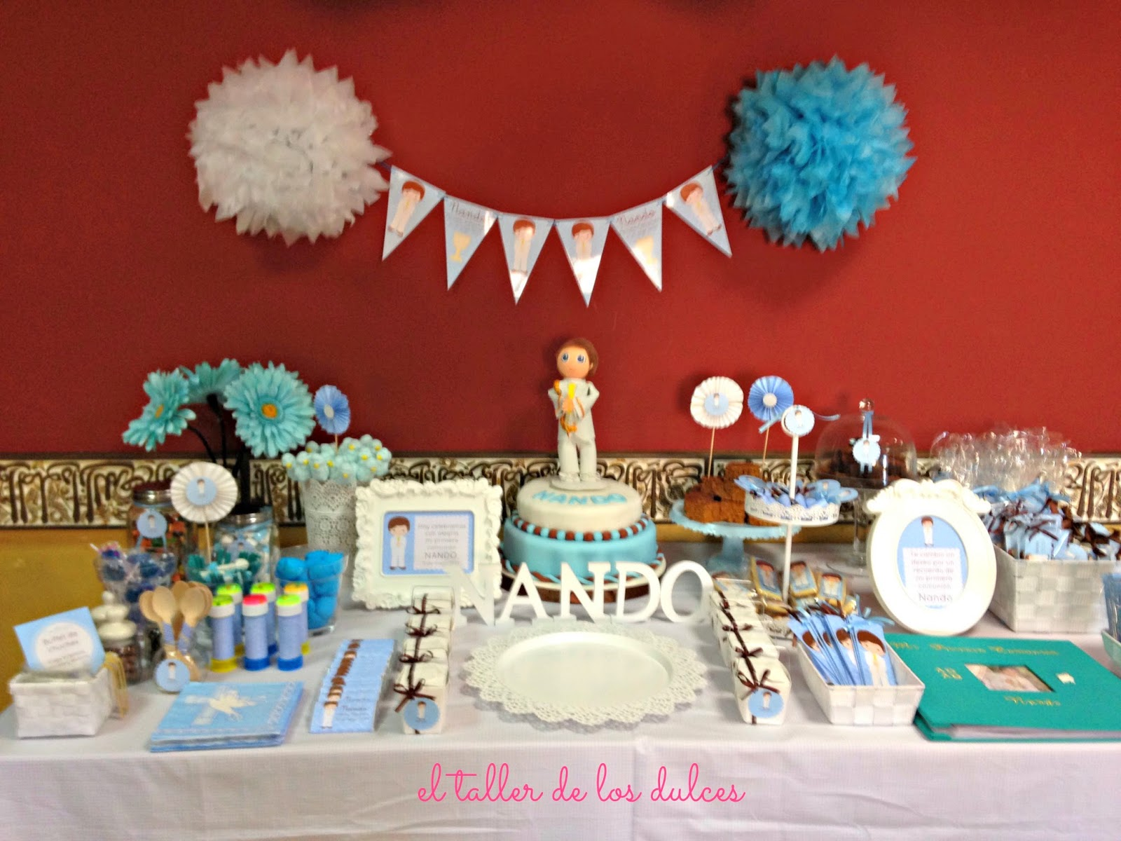 El taller de los dulces mesa dulce de comuni n de nando - Mesa de chuches casera ...