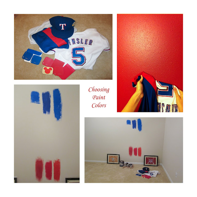 Evan's Room - Choosing Texas Rangers Paint Colors www.jarcarfam.blogspot.com