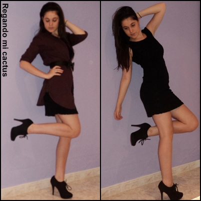 Vestido negro encaje con botines