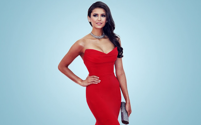 Nina Dobrev in Red Dress