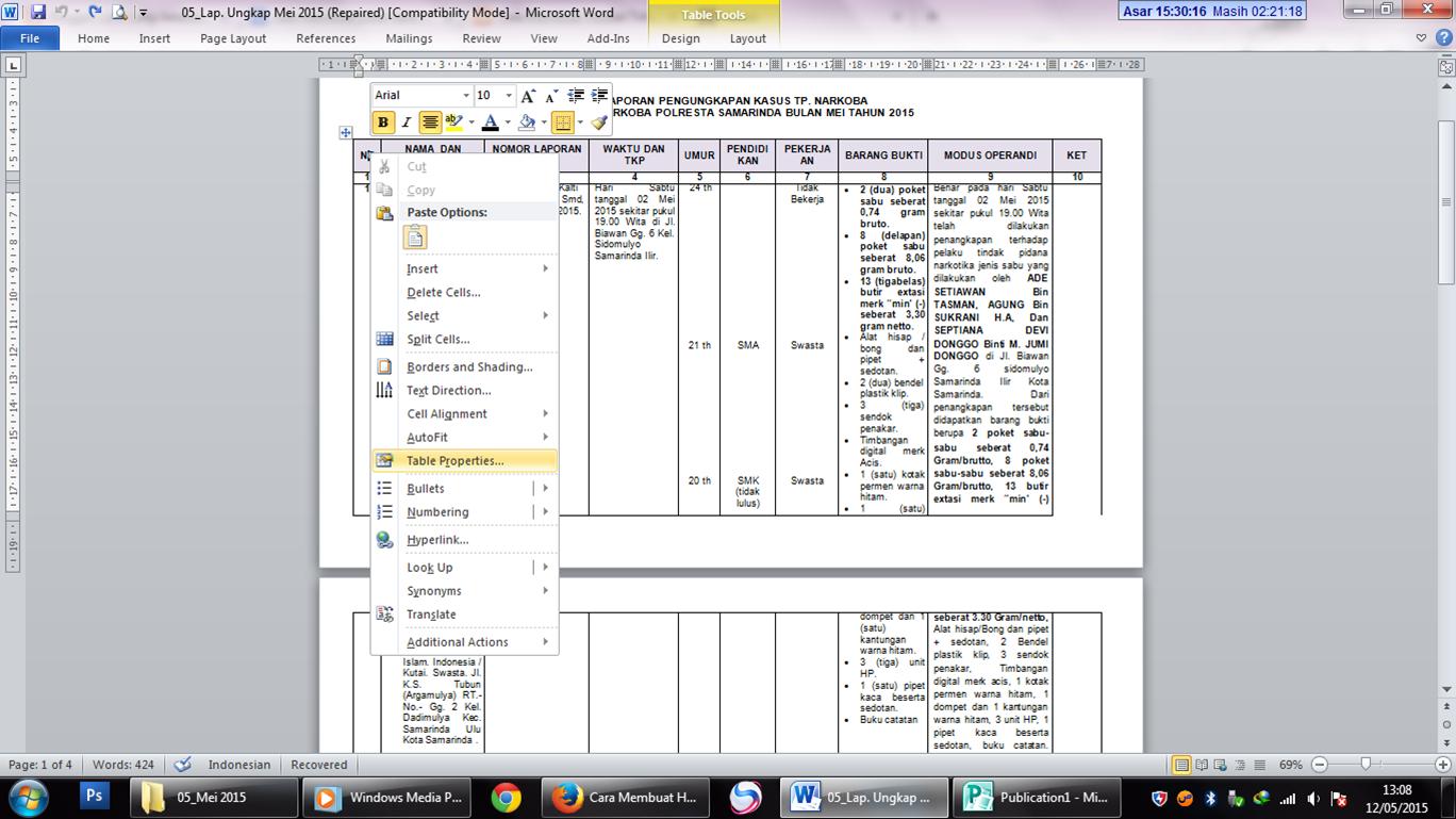 Tips dan trik cara agar judul tabel otomatis berulang di for Table properties