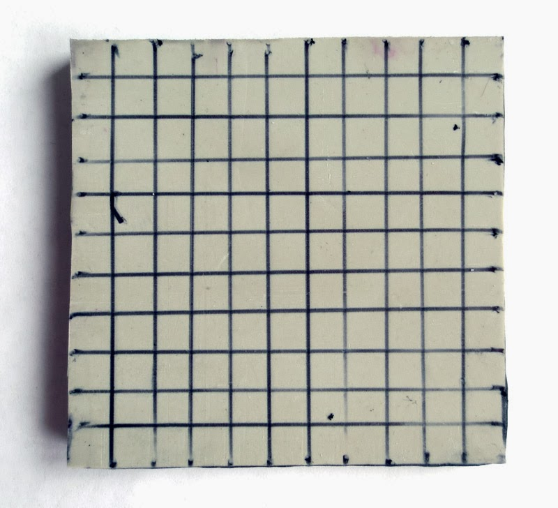 Grid drawn on stamp blank