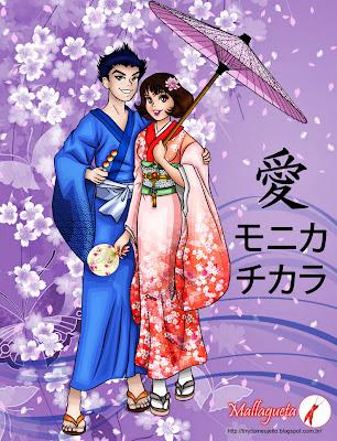 Monica e Tikara usando roupas típicas japonesas