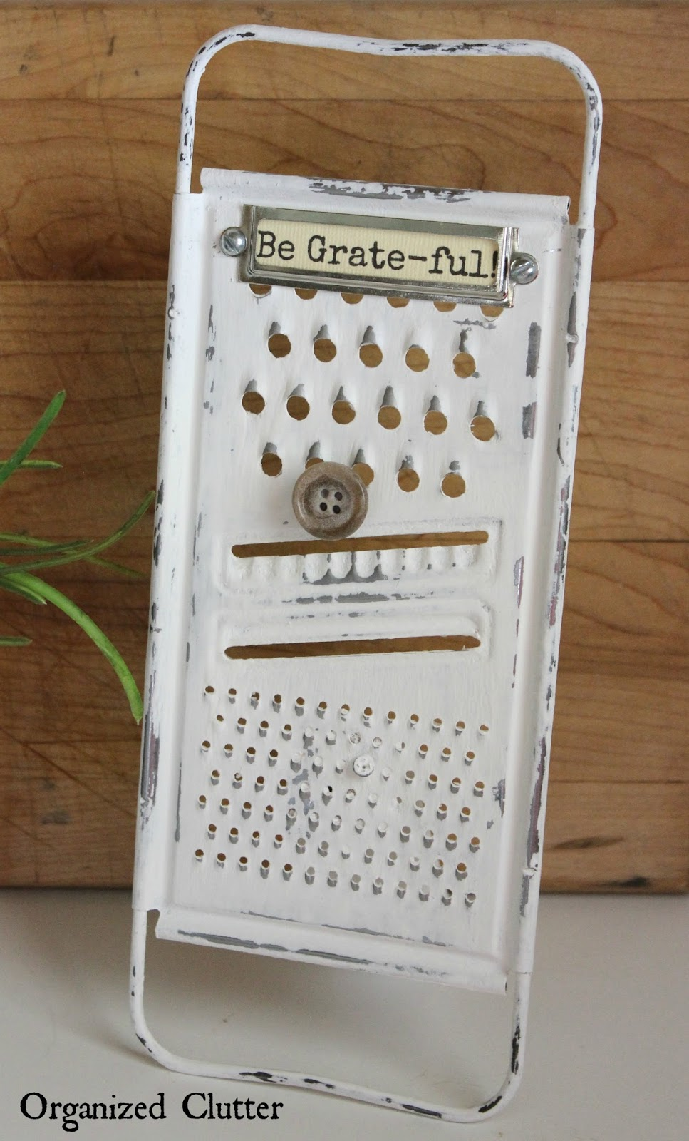 Repurposed Grater Photo or Recipe Card Stand www.organizedclutter.net