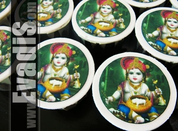 Picture of Lord Krishna cupcakes