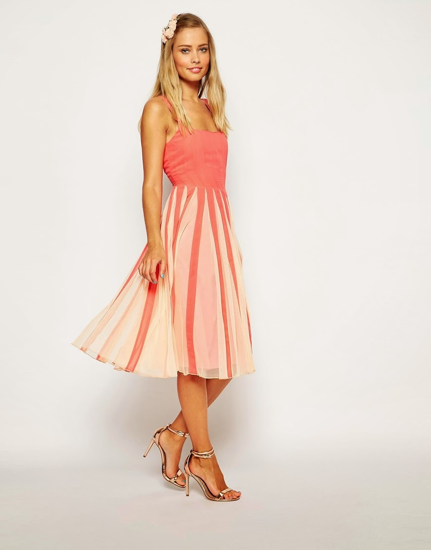 coral dress stripe skirt