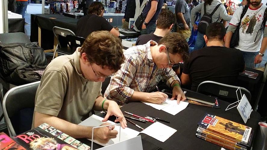 Bill Presing y Matt Peters en el stand de Aleta Ediciones (Barcelona, 2014)