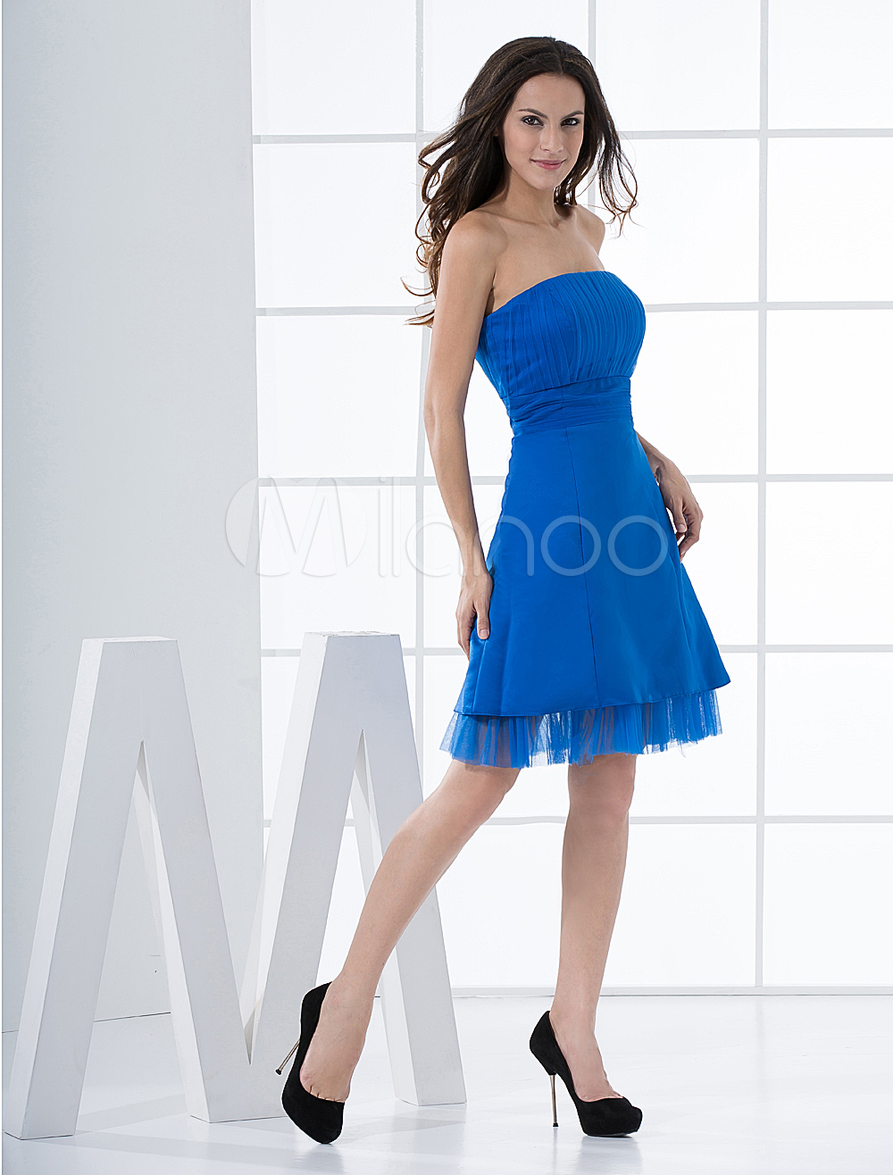 China Wholesale Dresses - Attractive A-line Strapless Empire Waist Satin Net Summer Cocktail Homecoming Dress