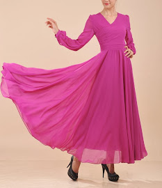 Asymmetric V-neck Wrap Long Sleeve Big Yards Silk Chiffon Maxi