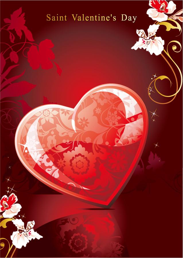 ロマンチックなハート飾りの背景 romantic heartshaped tread pattern イラスト素材3