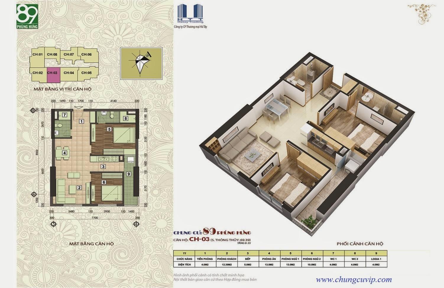Chung cư 89 Phùng Hưng ,Căn 63,39 m2