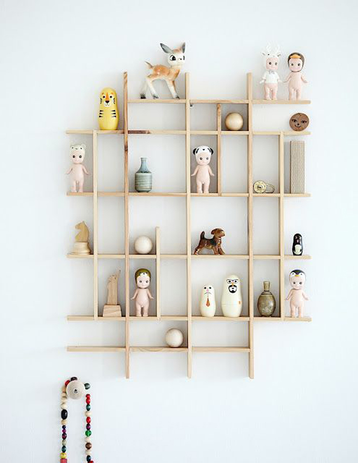 Shelf with treasuries in children's rooms