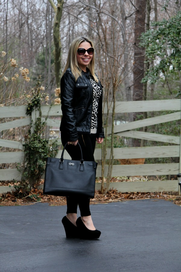 Black Leggings - Zara, Animal Print Sweater - Forever 21, Faux Leather Black Jacket - Collection B, Bag - Briana Large Tote from Salvatore Ferragamo, Angled Enamel Sunglasses - Marc Jacobs, accessories - TJ Maxx and Michael Kors