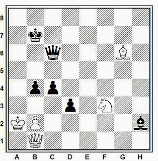 Estudio artístico de ajedrez compuesto por M. S. Liburkin (Schachmaty URSS, 1940)