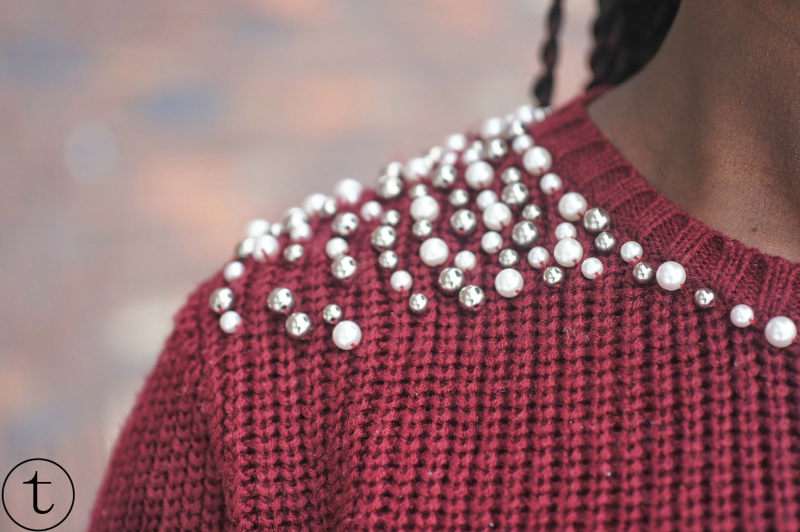 burgundy and pearls pullover