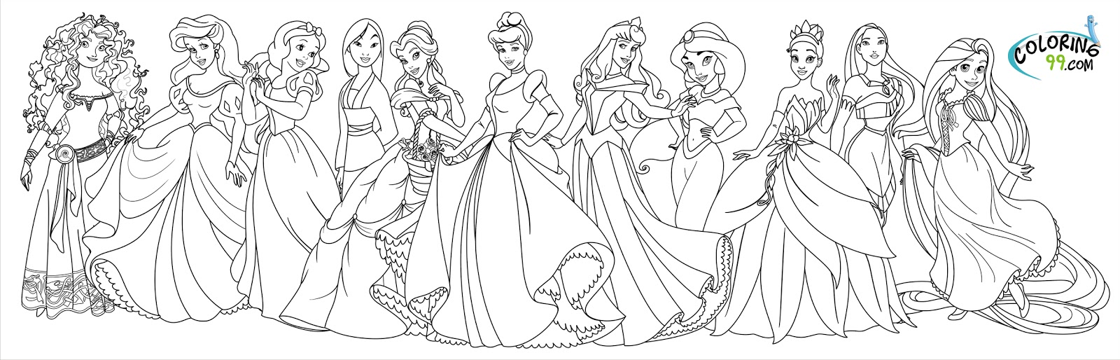 July 2013 Team Colors Disney All Princess Coloring Pages