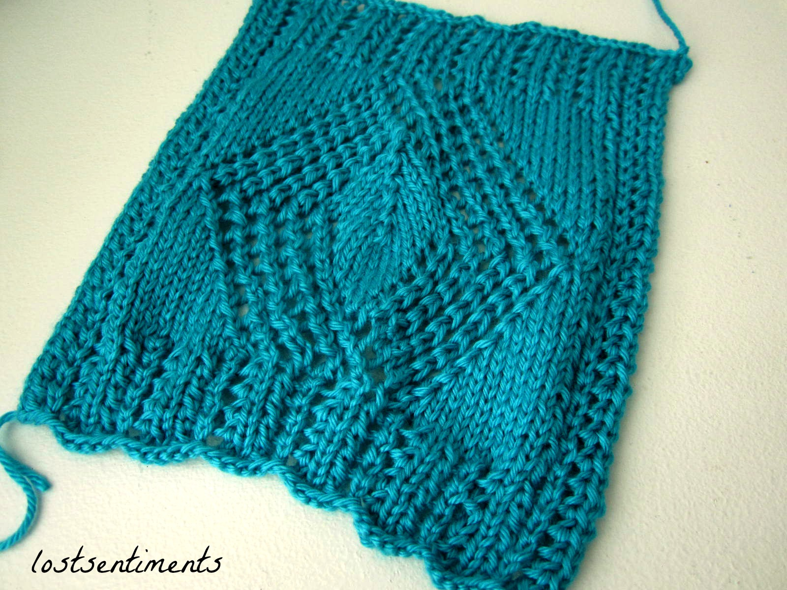 Ssk Knitting Diagram : Lostsentiments openwork diamond scarf free knitting pattern