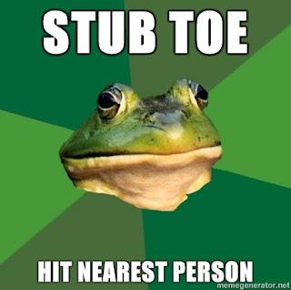 foul bachelor frog stub toe