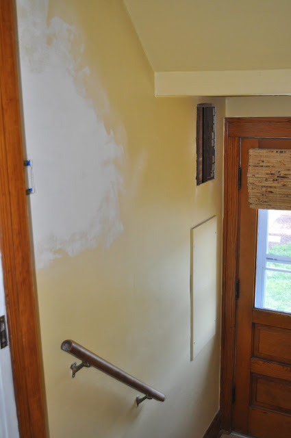 hallway, painting trim, painting, priming, freshening up, painting stairs