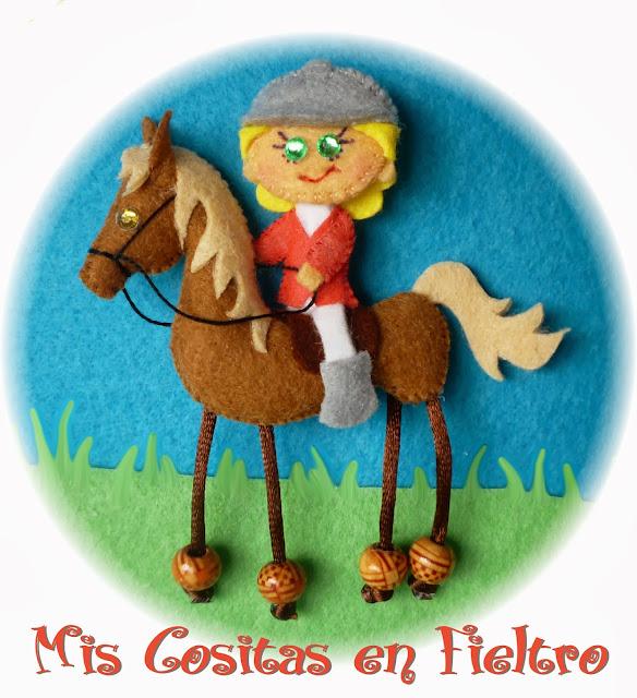 broche, fieltro, amazona, caballo