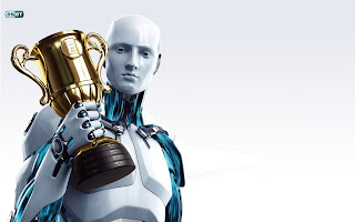 Eset Nod32 Robot Holding Cup HD Wallpaper
